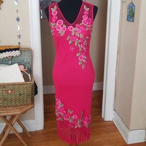 VTG Sue Wong Hot Pink Crochet Tasseled Midi Dress
